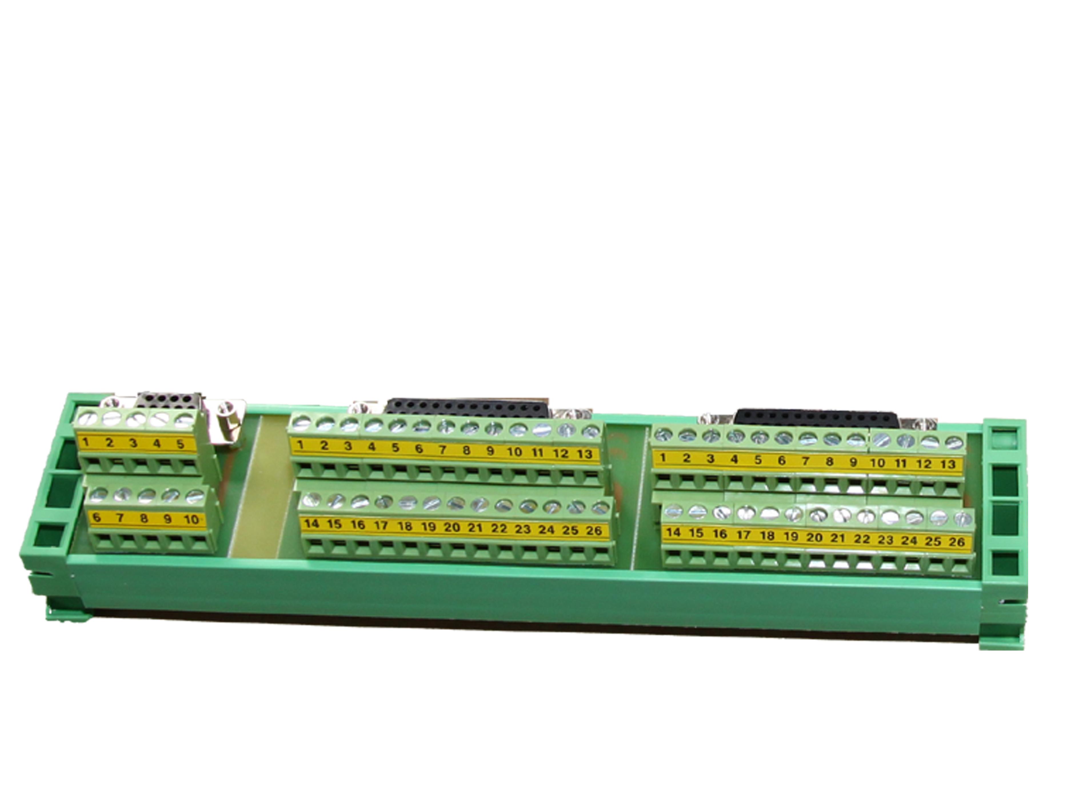 Listwa przyłączeniowa na szynę DIN – DB25+DB25+DB9 terminal block + taśmy przyłączeniowe